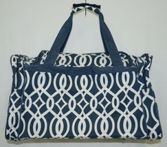 NGIL BIQ423NAVY Geometric Vine Print Canvas Duffle Bag Colors Navy and White image 2