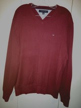 Tommy Hilfiger Men's Ls 100% Cotton V-NECK SWEATER-XL-WINE-WORN Couple Times - $7.99
