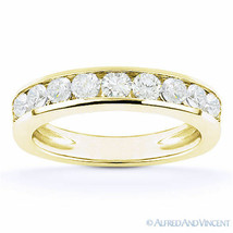 Round Cut Moissanite 14k Yellow Gold Channel-Set Anniversary Ring Weddin... - €458,96 EUR+