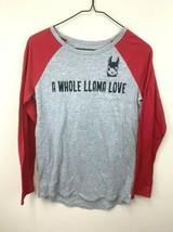 Justice Girls 16 A Whole Llama Love Gray Red Black Glitter Raglan Shirt - $8.99