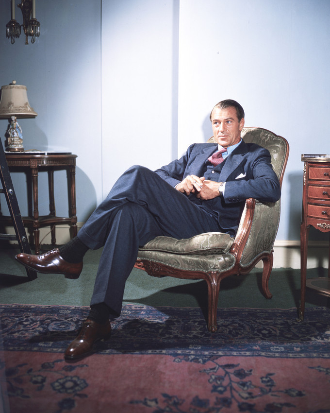 Gary Cooper handsome Hollywood portrait in elegant chair 16x20 Canvas Giclee - $69.99