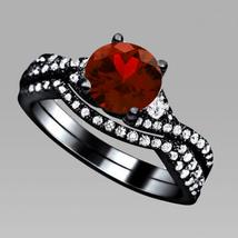 Real 925 Silver 1.75 carat Garnet & Diamond Engagement & Wedding Bridal Set - $94.99