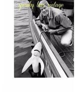 Celebrity Photo Black & White Vtg Peter Graves With Blue Shark - $17.77