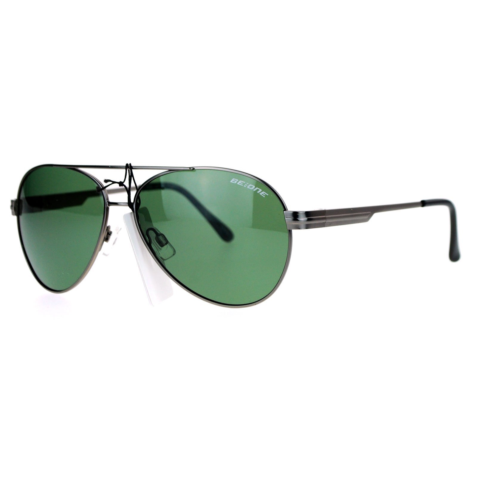 Mens Anti Glare Polarized Luxury Metal Aviator Sunglasses Gunmetal Green