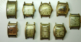 9 WALTHAM ART DECO DIAL CASE WATCHES ALL TICKING FOR RESTORATION OR PARTS - $555.57