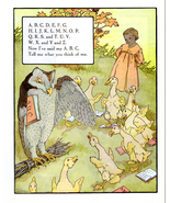 Vintage Nursery Wall Art Print Owl Teaching ABCs Song to Ducks 1971 Art ... - $10.99