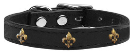 Bronze Fleur De Lis Widget Genuine Leather Dog Collar Black 18 - $19.42