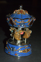 Vintage Decorated Enamel Jeweled Elephant Carousel Music Box