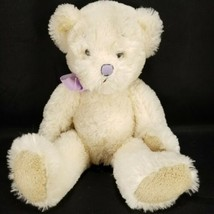 Russ Anya Teddy Bear Plush Ivory White Brown Stuffed Animal Purple Ribbo... - $15.83