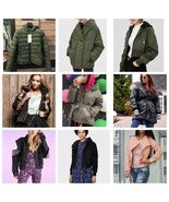 Woman's Jacket Puffy Nylon Denim Hooded Black Army Green Pink Leather Sp... - $59.00