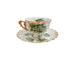 NAPCO LILLY of the Valley BOUQUET Footed Fine Bone China Teacup and Sauc... - $56.90