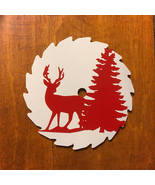 Deer and Tree Mini Round Sawblade, Red Decal on White, Fridge Magnet, 3 Inch - $12.50