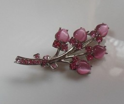 Vintage Pink Cabochon & Rhinestone Tulip Flower Brooch - $19.80
