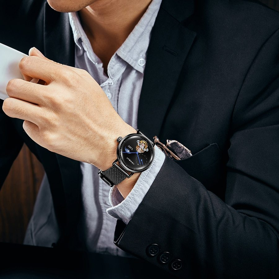 Watch Men  Automatic Mechanical Watch Gold Skeleton Vintage Man Watch Mens FORSI