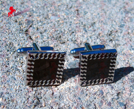 Square Black and Silver Finish Cufflinks – Wedding Party, Father's Day, Gifts - $3.95