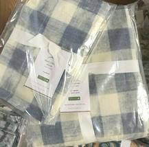 Pottery Barn Buffalo Check Duvet Cover Set Blue King 2 Euro Sham Farmhou... - $158.00