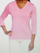SUSAN GRAVER ESSENTIALS BUTTER KNIT PINK TOP XS 2 4 BLOUSE 3/4 SLEEVES N... - $23.36
