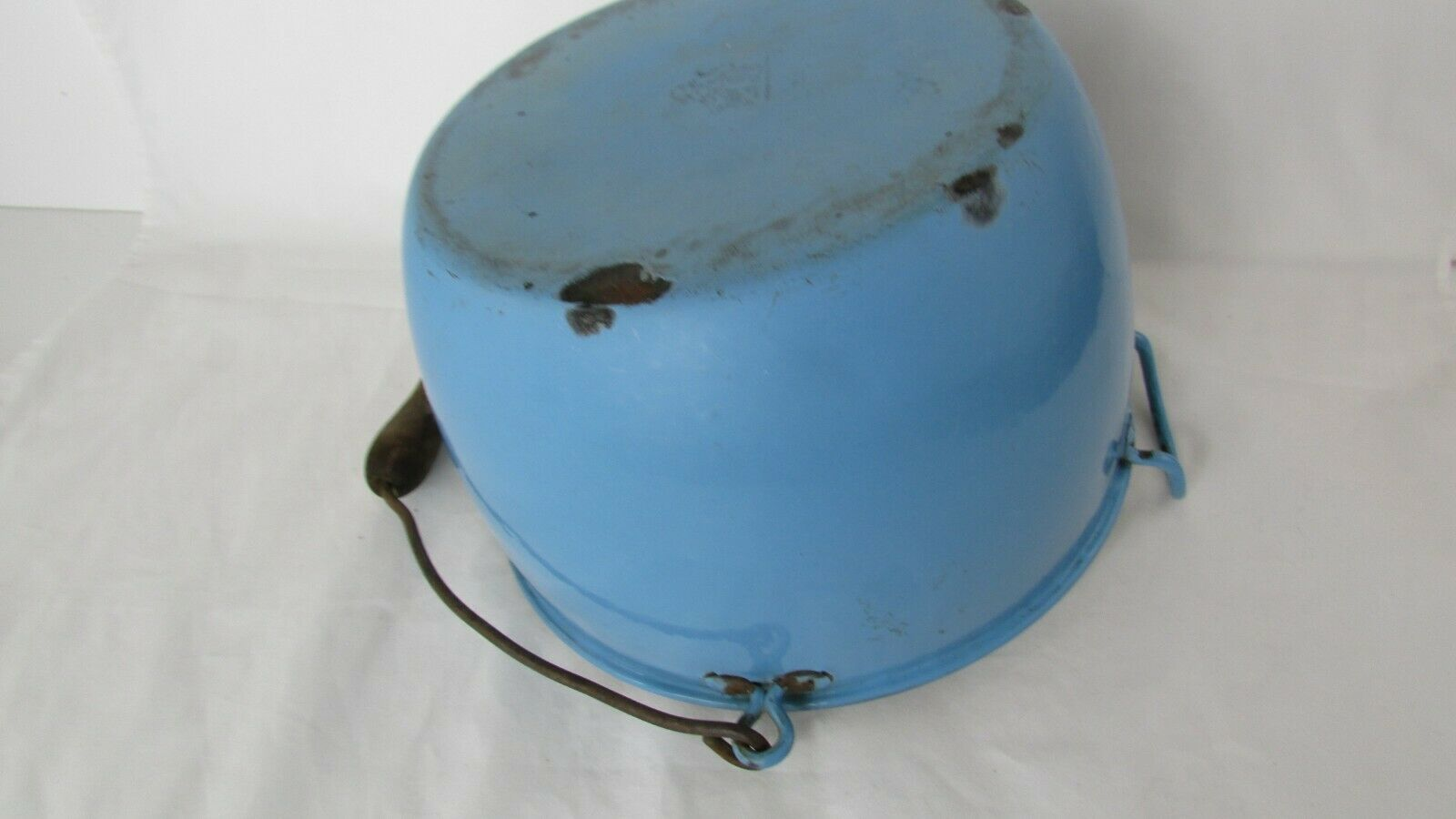 Vintage Enamel  Pail Bucket Blue and White Enamelware With Wooden Handle image 11