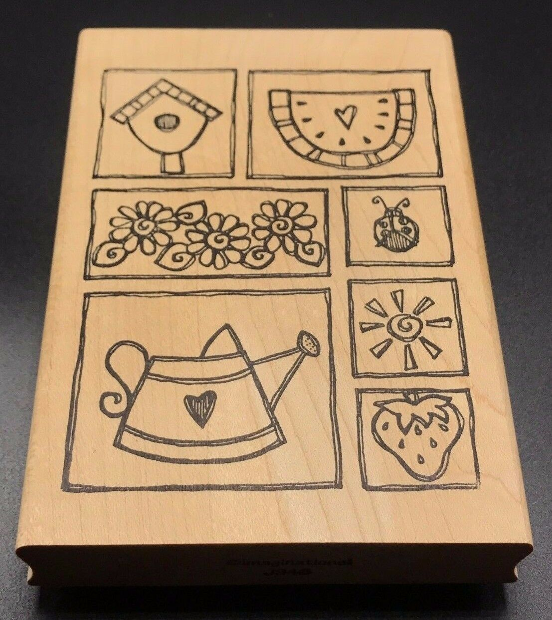 Primary image for Imaginations Wood Mounted Stamp Gardening Watering Can Flowers Sun NEW 5X3.5""