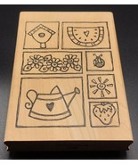 Imaginations Wood Mounted Stamp Gardening Watering Can Flowers Sun NEW 5... - $9.85