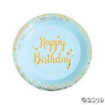 Blue & Gold Birthday Paper Dinner Plates - $3.74