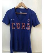 Nike Blue V Neck Women's Chicago Cubs MLB Baseball Short Sleeve Shirt Si... - $15.95