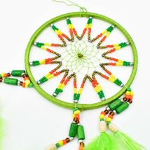 """Handcrafted 11"""" Dreamcatcher Green Yellow Red Plastic & Wood Beads Feathers  image 3"""