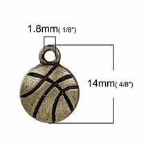 Basketball Wholesale 14mm Antiqued Bronze Sports Charm 20 Pcs - $13.37