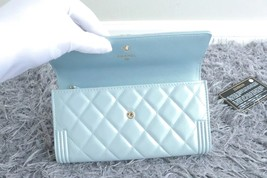 100% AUTH CHANEL PEARLESCENT BLUE QUILTED LEATHER BOY TRI-FOLD WALLET CLUTCH  image 7
