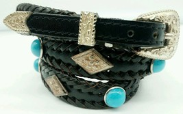 NEW BLACK HATBAND Braided Leather TURQUOISE+SILVER CONCHOS & Buckle Set ... - $27.80