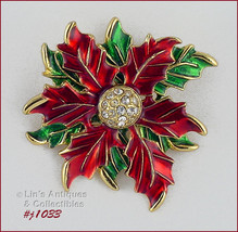 Signed Eisenberg Ice Poinsettia Pin with Green Leaves (#J1033) - $40.00