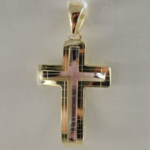 18K YELLOW & WHITE GOLD DOUBLE CROSS, SQUARED, BRIGHT, 1.06 INCH MADE IN ITALY image 2