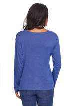 Blue Long Sleeve Draped Round Neck T Shirt - $11.80