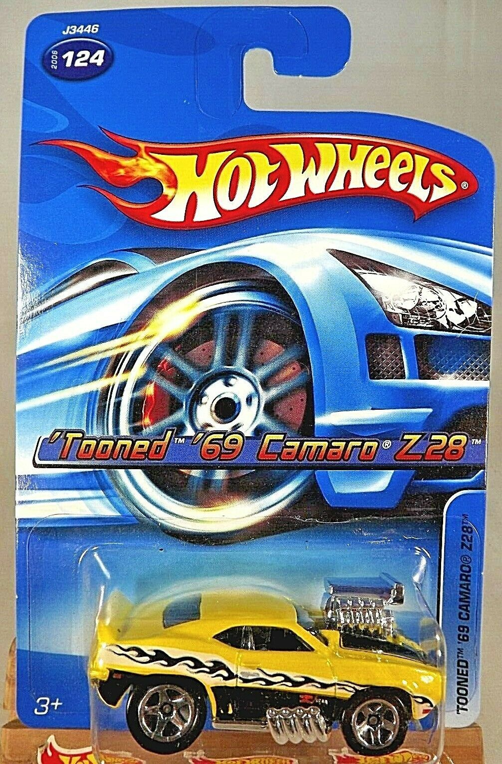 Primary image for 2006 Hot Wheels Collector #124 TOONED '69 CAMARO Z28 Yellow Variant w/Chrome 5Sp