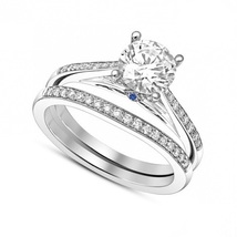 18k White Gold Finish 925 Silver Bridal Wedding Ring Set Round Cut Sim Diamond - $81.40