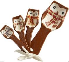 Pier 1 Chilly Billy Owl Measuring Spoons 4 Piece Set Dolomite Ceramic - $24.75