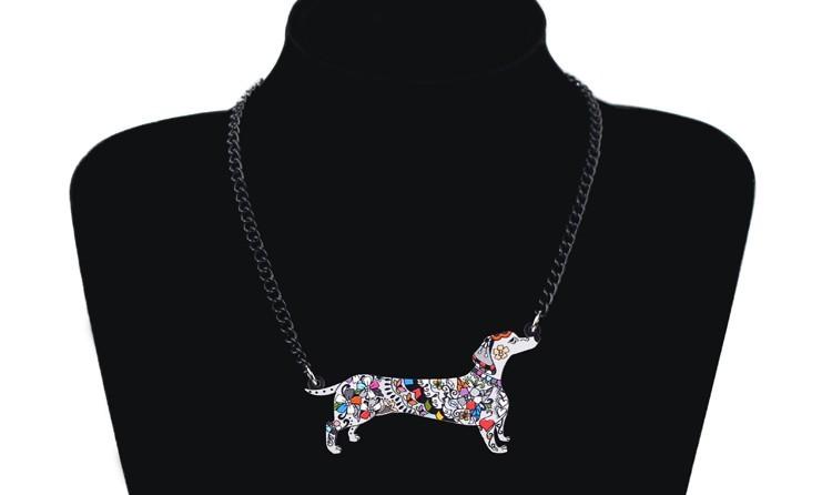 (GREY)Bonsny Brand Jewelry Sets Acrylic Statement Dachshund Dog Necklace Earring