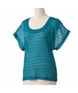 Lauren Conrad LC Sheer Marlin Teal Blue Knit Dolman Top XS Extra Small - $19.99