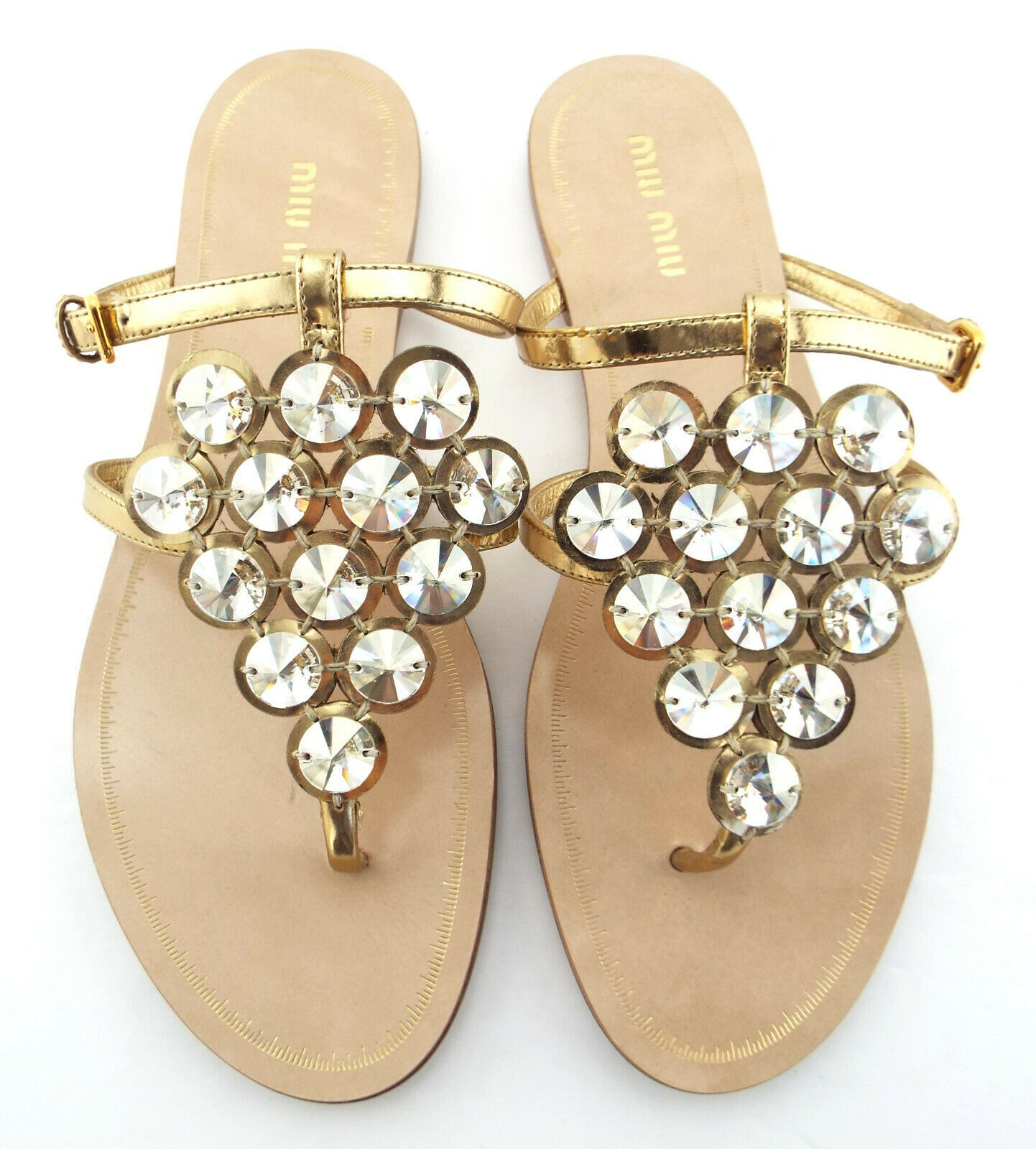 New MIU MIU Size 6.5 Gold Crystal Mantle Thong Slide Sandals Shoes 36 1/2 Prada