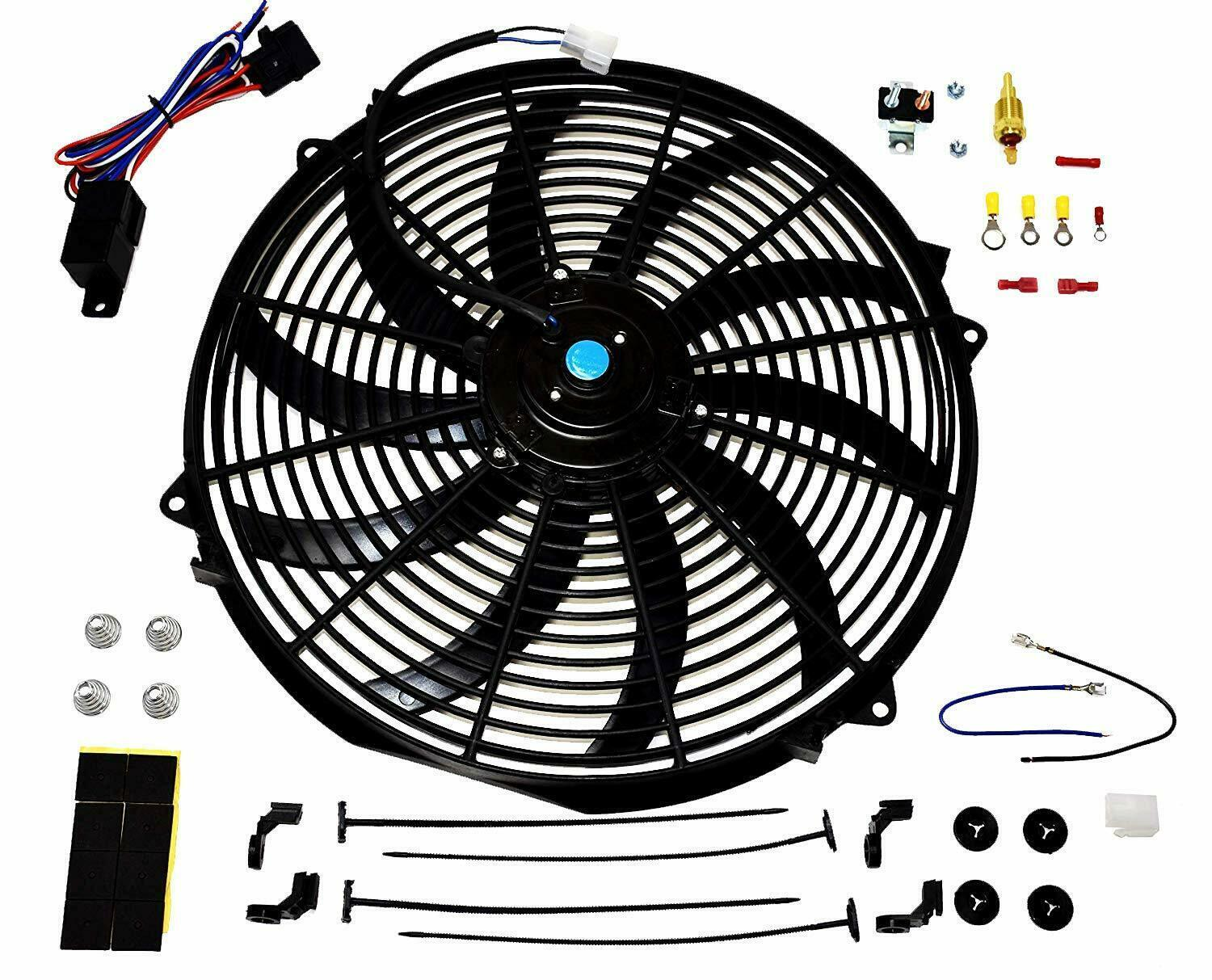 "16"" Electric Curved Blade Reversible Cooling Fan 12v 3000cfm+ Thermostat Kit"