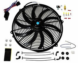 "16"" Electric Curved Blade Reversible Cooling Fan 12v 3000cfm+ Thermostat Kit image 1"