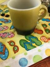 Vintage Fire King Fireking Milk Glass Green Black Stackable Coffee Mug Cup  - $9.99