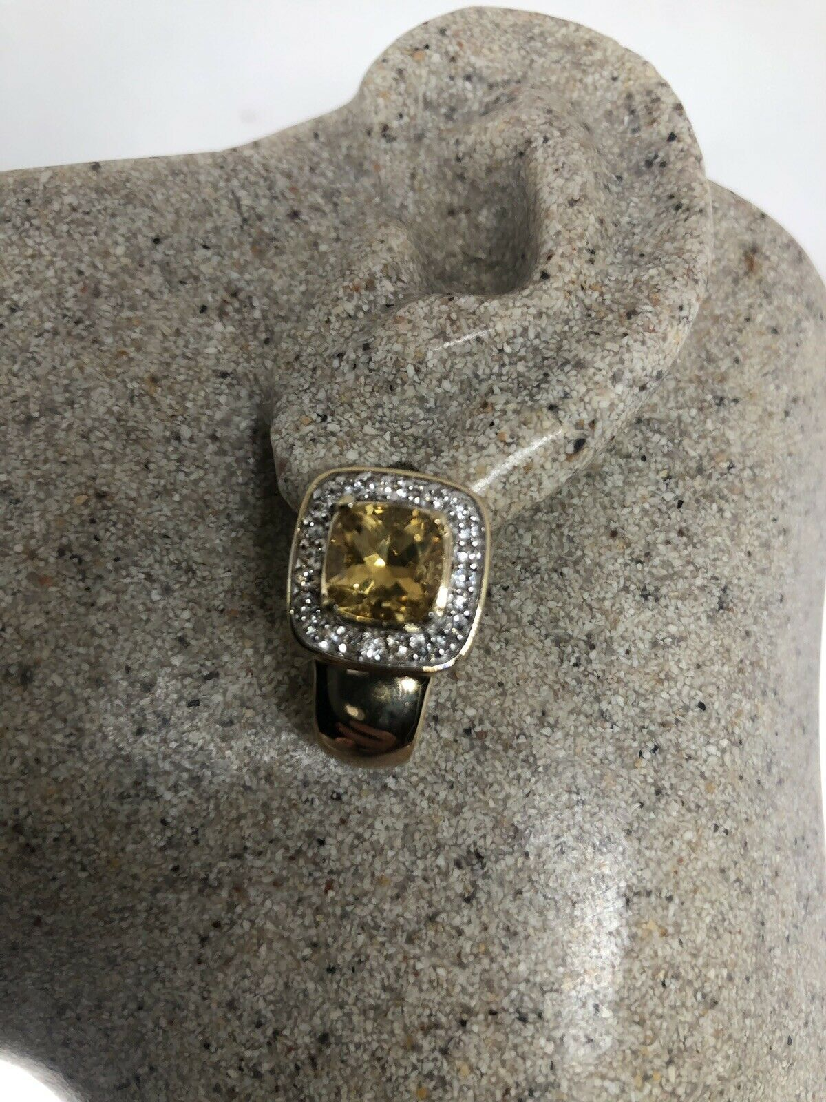 Primary image for Vintage Citrine Earrings Golden Deco 925 Sterling Silver