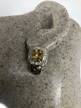 Vintage Citrine Earrings Golden Deco 925 Sterling Silver - $146.52