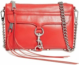 Rebecca Minkoff Mini MAC Tomato Red Leather Crossbody Convertible Clutch... - $143.06