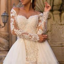 Celeb Vintage Bridal Euro Designer Long Sleeve Button Illusion Floral Embroidere image 5