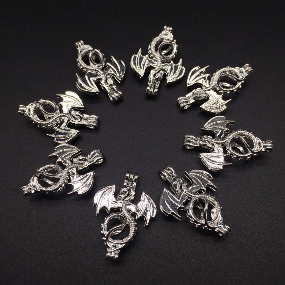 8 pcs Pearl Cage Pendant Shape  Flying Dragon Bright Silver Trendy Fun Gift