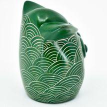 Vaneal Group Hand Carved Kisii Soapstone Green Owl Figurine Handmade in Kenya image 4