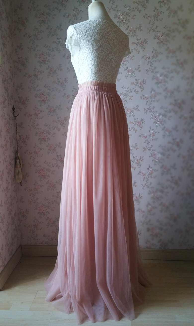Rose Pink High Waist Full Maxi Tulle Skirt Pink Wedding Bridesmaid Tulle Skirts