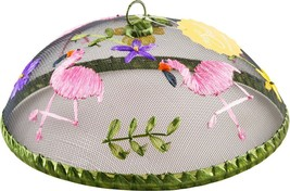 SET OF 2 FOOD DOME FLAMINGO ON GREEN  MESH BY HOME ESSENTIALS - €26,61 EUR
